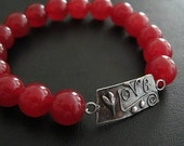 Valentine's Day Jewelry | LOVE Bracelet | Ruby Jade Bracelet | Layering Jewelry | Stack Bracelet | July Birthstone