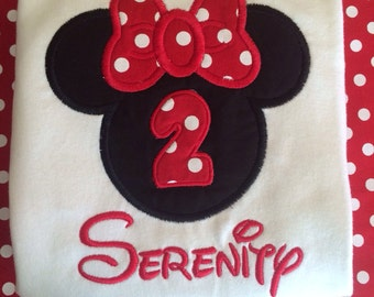 Personalized Monogram Minnie Mouse Birthday Applique Disney Ruffle Shirt