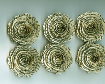Bookprint Inspired Handmade Large Spiral Paper Flowers