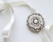 First Snow Pearls and Rhinestone Brooch // Bridal Headpiece