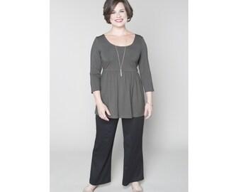 Empire Waist Tunic Matte Jersey Customizable Misses & Plus Sizes 2-28