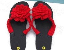 Wedding Flip Flops for Guests Crochet Flip Flops  Black Flip Flops  Size Medium Shoes  Womens Beach Shoes  Summer Sandals  Flower Flip Flops