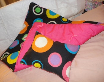 Colorful circle print & hot pink quilt and pillow set for 18 inch Dolls - agqs13