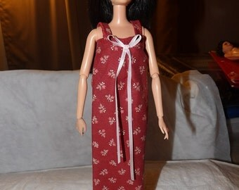 Long rust floral print nightgown for Fashion Dolls  - ed679