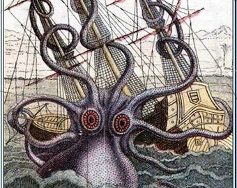 The Black Lagoon -  A Giant Octopus' BathTub - Personalized ADHESIVE Bookplate Pirates - Pirate Ships - Monsters at Sea