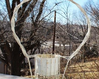 Vintage Funeral Basket Wood Funeral Flower Basket - Folk Art