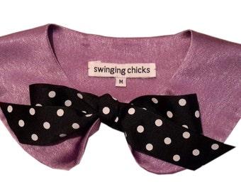 Detachable Scalloped Peter Pan Collar Necklace Bib retro inspired bow