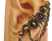 Custom Bronze Ear Cuff with Chain & Crystal in your choice of stone - Steampunk Jewelry