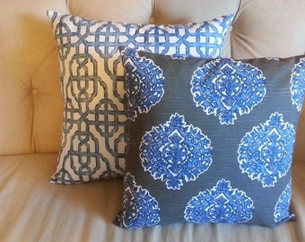 blue ikat pillow cover, cushion cover