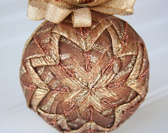 Brown, Copper and Gold Quilted Christmas Ornament Ball - Copper Delight