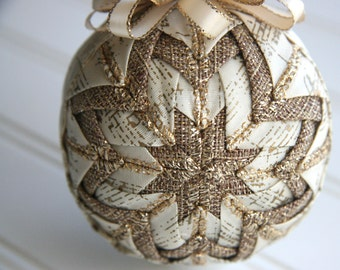 Quilted Christmas Ornament Ball/Gold and Cream Musical Notes - Rustic Rhapsody