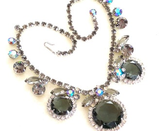 Vintage Juliana Necklace Aurora Borealis Runway Statement with FREE Bonus
