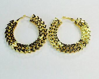 Gold M2 Hoop Earrings 2 3/4 inch Buy 2 Get 1 Free