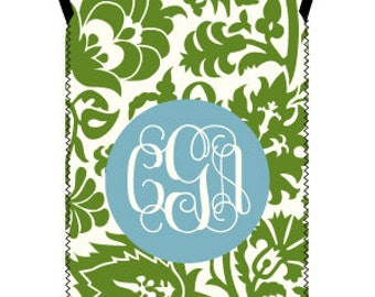 DAMASK wine tote - customizable pattern and monogram - fits both standard 500ml and larger 1.5 liter bottles
