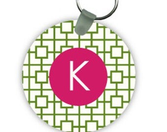 SQUARES REVERSE keychain with monogram