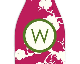 SAKURA personalized monogram bottle beverage insulator - zippered back for longnecks - weddings, bachelorette, parties, beaches