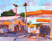Gas Station in Ocean Beach, San Diego Painting