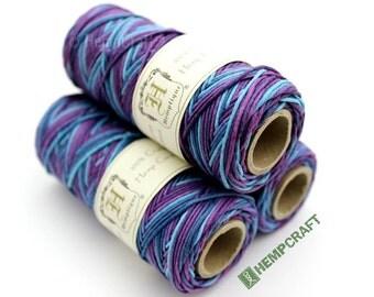 Hemp Twine, Purple Multicolored - Blueberry High Quality 1mm Hemp Cord