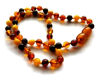 Baltic Amber Baby Teething Necklace Multicolor Ball Beads Round Natural