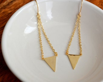 Gold triangle chain earrings, bride earrings, bridesmaid earrings, wedding earrings - G3118
