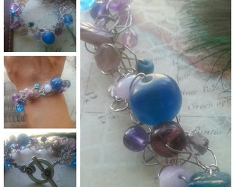 SALE. Lavender and Blues. Wire Crocheted Bracelet. Something Blue. Bohomeian
