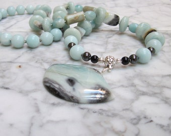 Eloquent Amazonite Natural Aqua Stone Throat Chakra Healing Balancing Necklace with Pendant