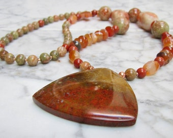 Natural Russet Orange Stone and Crystal Sacral Hara Chakra Energy Healing and Balancing Necklace with Multi-Color Flame Jasper Pendant