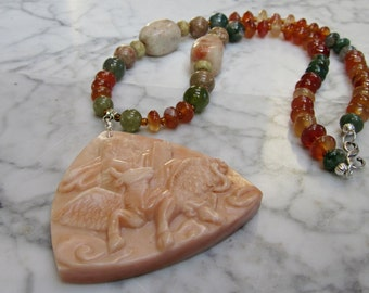 St Luke  - Natural Orange and Green Stone and Crystal Lower Chakra Balancing Necklace with Carved Red Malachite Winged Cow Ox Bull Pendant