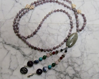 Zen Mala - 108 Natural Full Spectrum Stone and Crystal Crown Chakra Necklace with Carved Buddhas, Om and Hamsa Charms