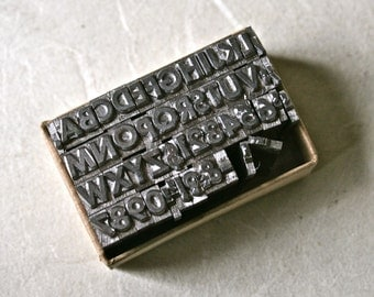 Tiny Letterpress Type Alphabet All Caps with Punctuation for Printing Stamping and Clay Stamping