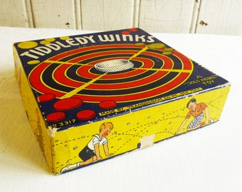 Vintage Tiddledy Winks or Tiddlywinks Tiddly Winks Game with Box - 1930s - Colorful Litho Graphics