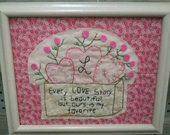Shabby True Love Story 8X10 Stitchery Hearts