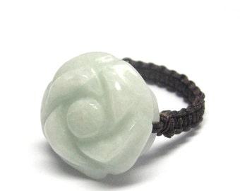 Natural Jadeite Gem Flower Bead Ring Jewelry Cy110