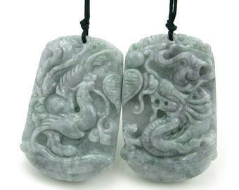 Pair Of Chinese Dragon And Phoenix Love Amulet Pendant Natural Jadeite 50mm*33mm  Cy160