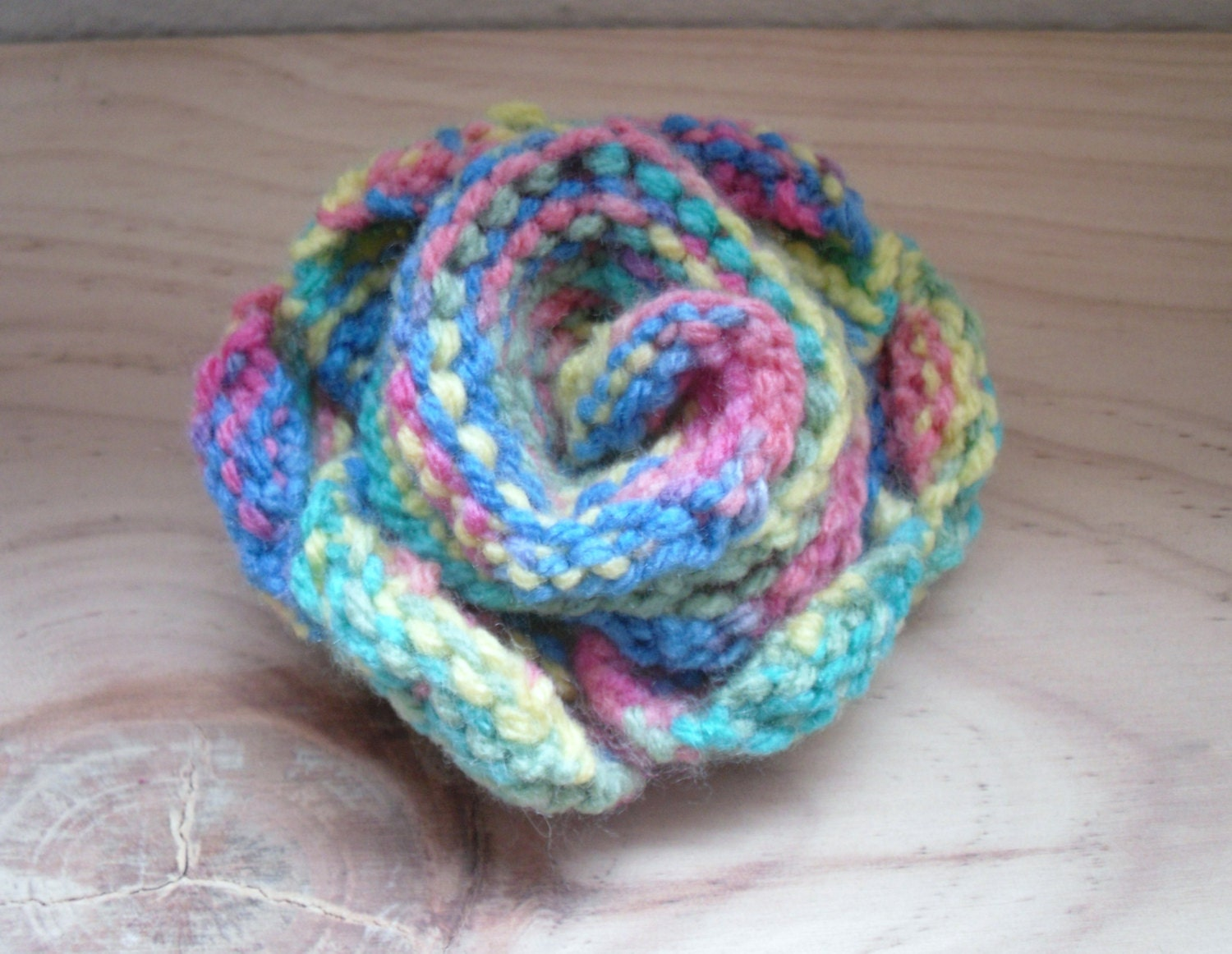 Free Knitted Flower Brooch Patterns : Rainbow Knitted Flower Brooch Multi Coloured Flower Pin FREE