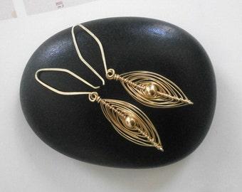 Delicate Gold Wire Wrapped Marquise Earrings Small 14k Gold Fill Dangles Herringbone Earrings Wire Jewelry Woven Wire Earrings