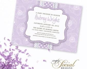 Baby Shower Bridal Shower Invitation Lilac Printable