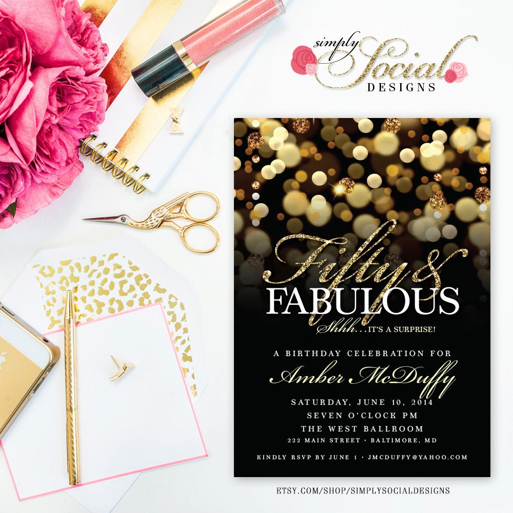Surprise 50th Birthday Party Invitation With Gold Glitter