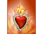 Art Card Gift Passion Heart Corazon Sacred Fire of Love Devotion Meditation Bookmark
