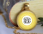 Monogram Necklace Initial Chevron Personalized necklace Monogrammed Gifts Bridesmaid Gifts Glass pendant necklaces preppy Jewerly