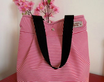 Striped Tote Bag red white, Quilted Diaper Bag, Nautical Stripes bag, Quilted Tote handbag Beach bag Shoulder Bag Every Day Bag