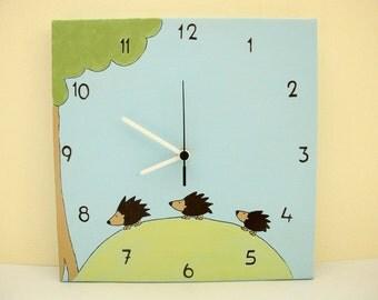 Children's clock- Hadgehogs aqua blue and green, boys clock, kids clock, nursery clock