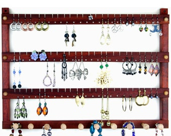 Jewelry Display - Earring Organizer, Hanging, Bloodwood, Wooden. Holds 72 pairs plus 10 peg Necklace Holder.  Wall Mounted Jewelry Holder