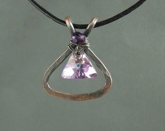 Triangle crystal necklace, swarovski pendant,  geometric jewelry, purple necklace, rustic copper jewelry