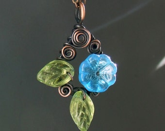 Blue floral necklace, copper necklace, botanical jewelry, rustic copper pendant, garden wedding jewelry