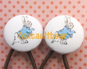 Custom Peter Rabbit Beatrix Potter Button Hair Ties Ponytail Pigtail Holder Set of 2 - handmade by foucaultbear