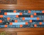 Striped Table Runner in Blue and Orange Batiks