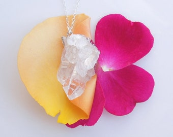 Druzy Quartz Necklace in Silver - OOAK Jewelry