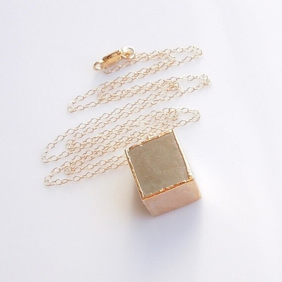 Pyrite Cube Geometric Necklace in Gold Fools Gold Jewelry