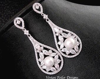 Bridal Pearl Earrings Wedding for PIERCE or CLIP-ON Earrings Vintage Style White Ivory Cubic Zirconia Dangle Jewelry Bling Prom Earrings